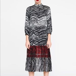 NWT Zara contrasting animal print dress